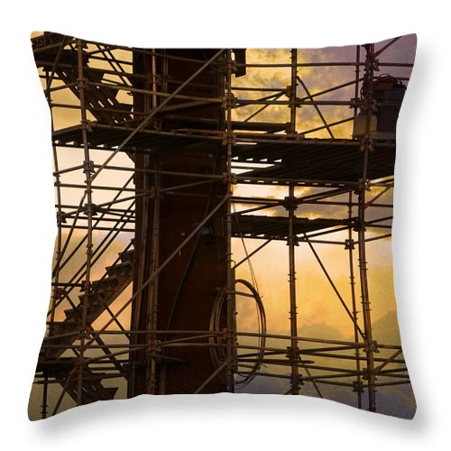 Abstract Throw Pillow featuring the photograph Stairs Lines And Color Abstract Photography by James BO Insogna