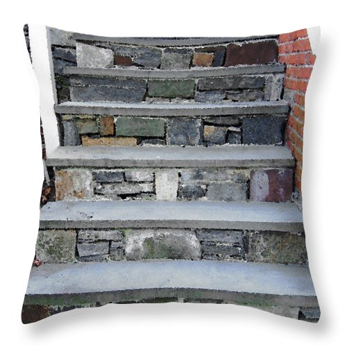 Stairs Throw Pillow featuring the photograph Stairs To The Plague House by RC DeWinter