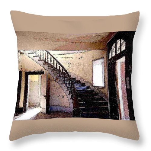 Meade Hotel Throw Pillow featuring the photograph Stairway - Meade Hotel - Bannack Mt by Nelson Strong
