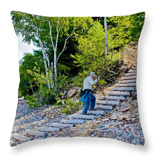 Stairway From Lake Superior Beach To Au Sable Lighthouse In Pictured Rocks National Lakeshore Throw Pillow featuring the photograph Stairway From Lake Superior Beach To Au Sable Lighthouse In Pictured Rocks National Lakeshore-michig by Ruth Hager