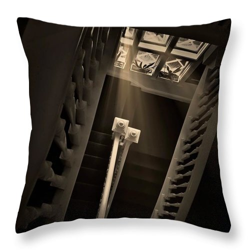 Old Throw Pillow featuring the photograph Stairway Light, Redstone Castle, Colorado by Zayne Diamond Photographic