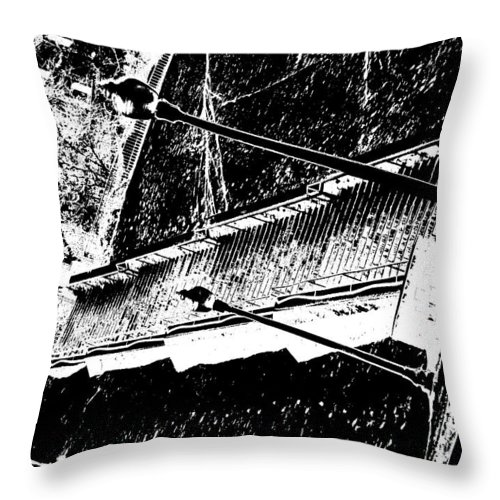 Black And White Throw Pillow featuring the photograph Stairway To by Charleen Treasures