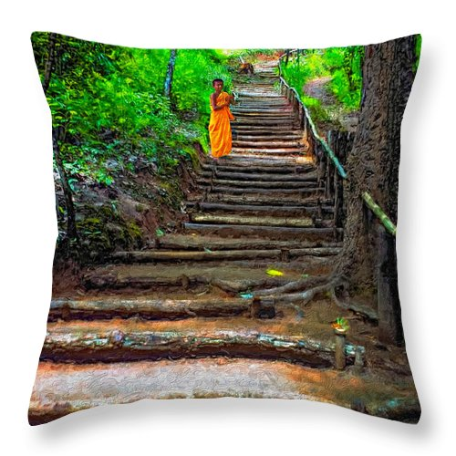 Jungle Throw Pillow featuring the photograph Stairway To Heaven Impasto by Steve Harrington