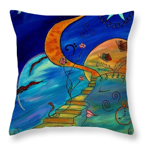Symbolic Throw Pillow featuring the painting Stairway To Nirvana by Robin Monroe