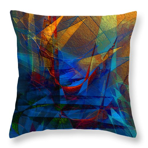 Abstract Throw Pillow featuring the digital art Stairway Upon Grail Passeges by Stephen Lucas