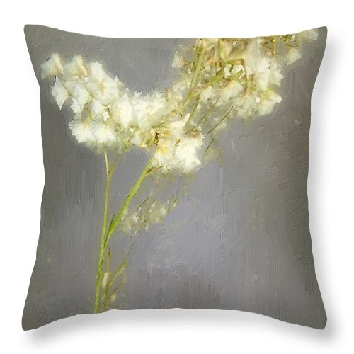 Flowers Throw Pillow featuring the painting Stalk Of Pearls by RC DeWinter