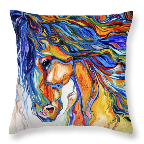 Equine Throw Pillow featuring the painting Stallion Southwest By M Baldwin by Marcia Baldwin