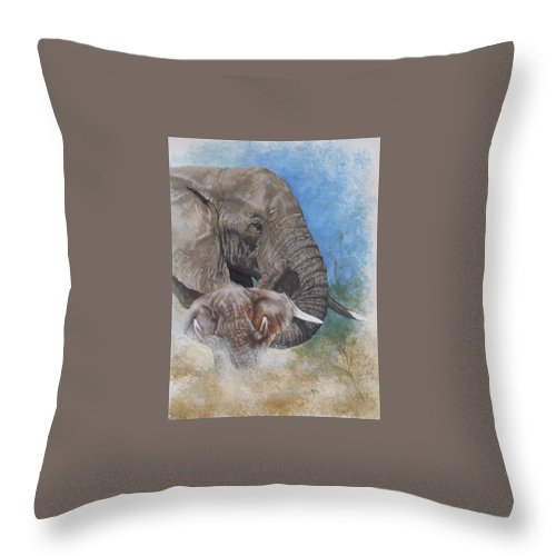 Elephant Throw Pillow featuring the mixed media Stalwart by Barbara Keith