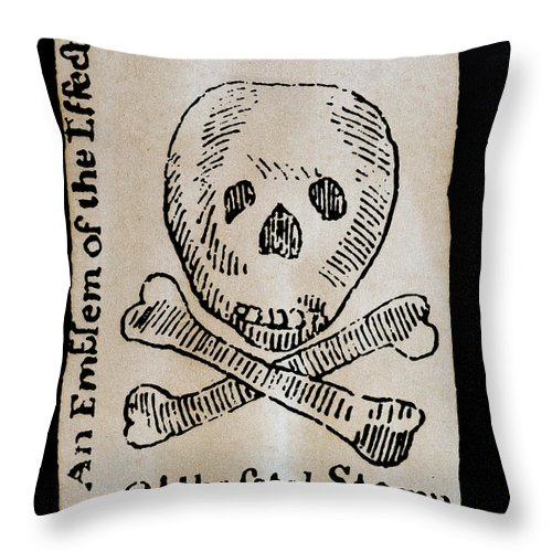 1765 Throw Pillow featuring the photograph Stamp Act: Cartoon, 1765 by Granger