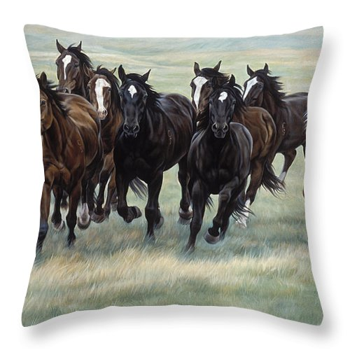 Michelle Grant Throw Pillow featuring the painting Stampede by JQ Licensing