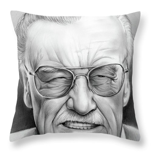 1b5d1e25 Stan Lee Throw Pillow featuring the drawing Stan Lee by Greg Joens