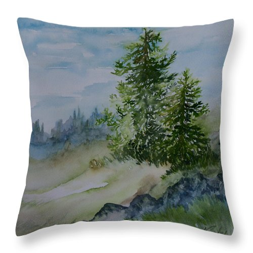 Grand Beach Manitoba Canada Throw Pillow featuring the painting Stand By Me Little One by Joanne Smoley