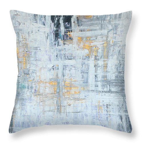 Gold Throw Pillow featuring the painting Stand Firm by Nadine Rippelmeyer