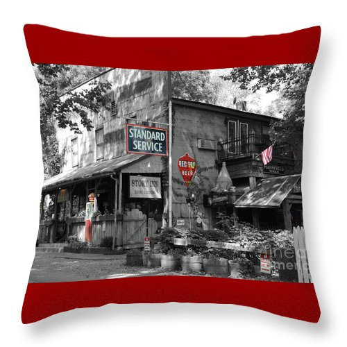 Standard Throw Pillow featuring the photograph Standard Gas Station by Jost Houk