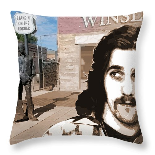 Glenn Frey Throw Pillow featuring the drawing Standin On The Corner by Greg Joens
