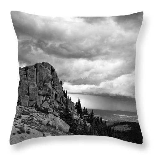 Mountain Throw Pillow featuring the photograph Standing Against The Storm by Scott Pellegrin