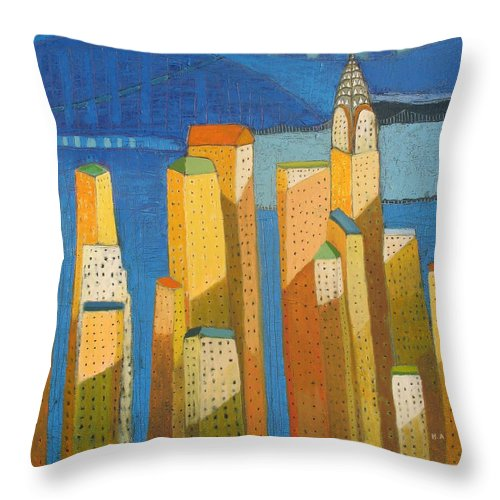 Abstract Cityscape Throw Pillow featuring the painting Standing High by Habib Ayat