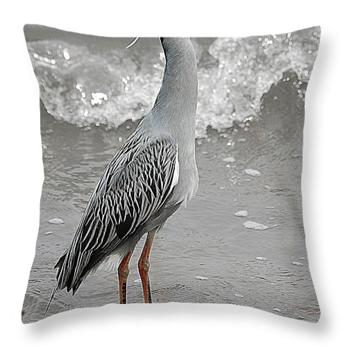 Bird Throw Pillow featuring the digital art Standing Proud by DigiArt Diaries by Vicky B Fuller