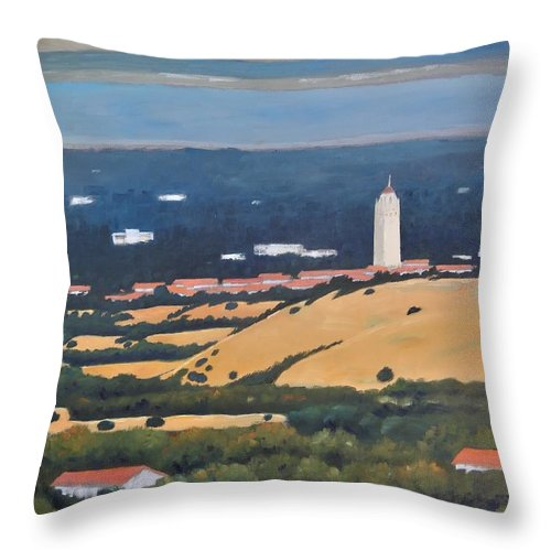 Stanford University Throw Pillow featuring the painting Stanford from Hills by Gary Coleman