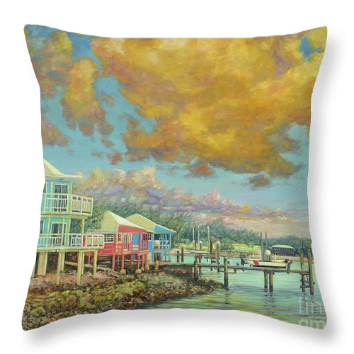 Sunset Throw Pillow featuring the painting Staniel Cay Sunset by Danielle Perry