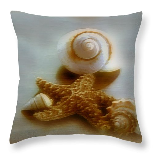 Beach Art Throw Pillow featuring the photograph Star And Shells by Linda Sannuti
