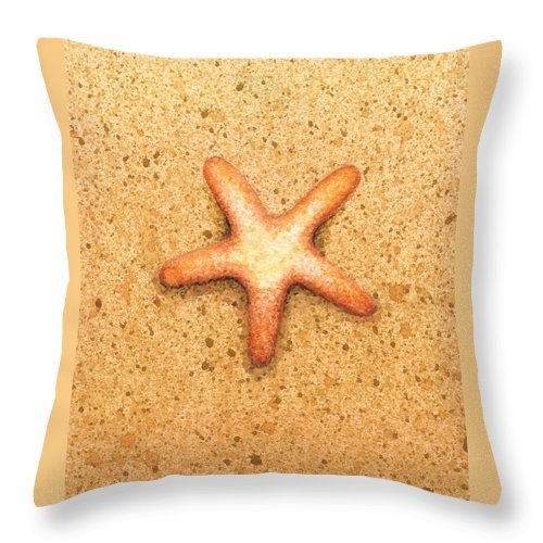 Print Throw Pillow featuring the painting Star Fish by Katherine Young-Beck