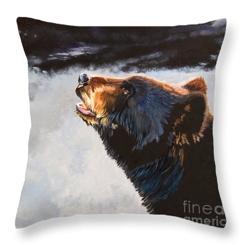 Bear Throw Pillow featuring the painting Star Gazer by J W Baker