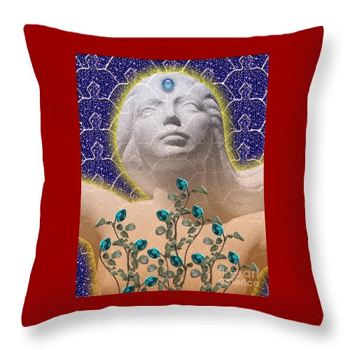 Girl Throw Pillow featuring the digital art Star Goddess by Keith Dillon