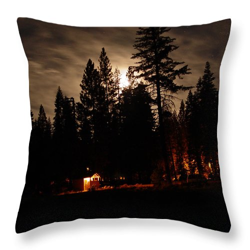 Moonlight Throw Pillow featuring the photograph Star Lit Camp by Peter Piatt
