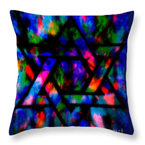 Hebrew Throw Pillow featuring the painting Star Of David by Wbk