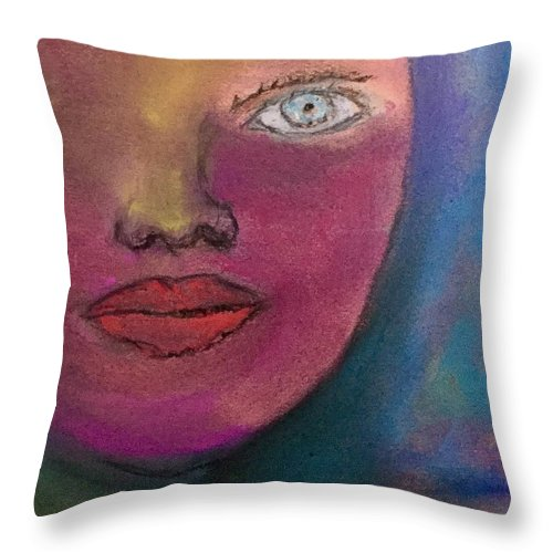 Face Abstract Pastel Red Eye Lips Nose Throw Pillow featuring the pastel Star by Tom Harmon