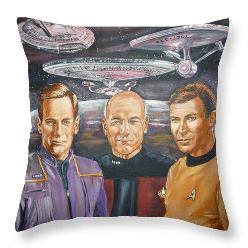 Star Trek Throw Pillow featuring the painting Star Trek Tribute Enterprise Captains by Bryan Bustard