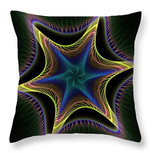 Apophysis Throw Pillow featuring the digital art Star Twist Spiral by Deborah Benoit