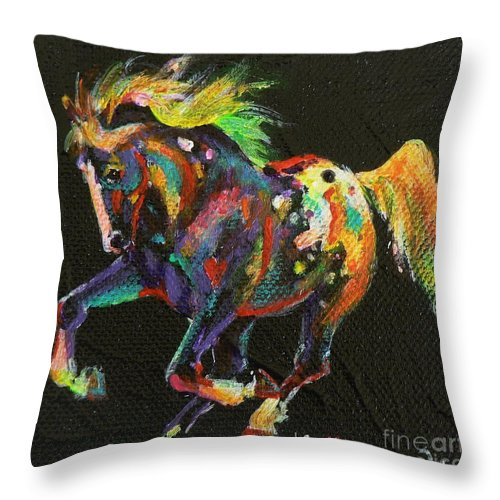 Starburst Pony Throw Pillow featuring the painting Starburst Pony by Louise Green