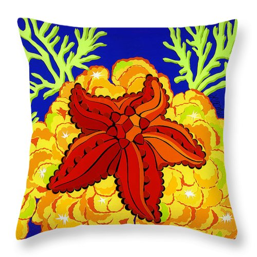 Nature Throw Pillow featuring the drawing Starfish by Lucyna A M Green
