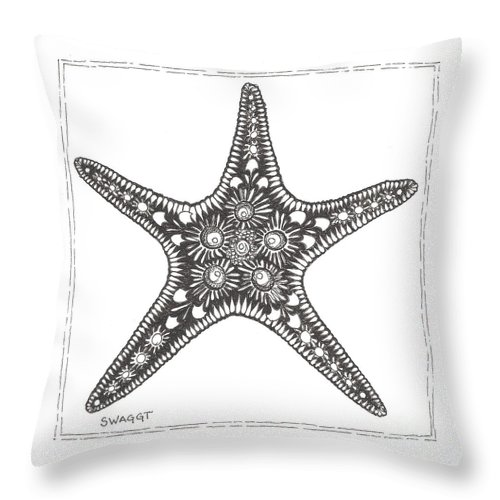 Coastal Art Throw Pillow featuring the drawing Starfish by Stephanie Troxell