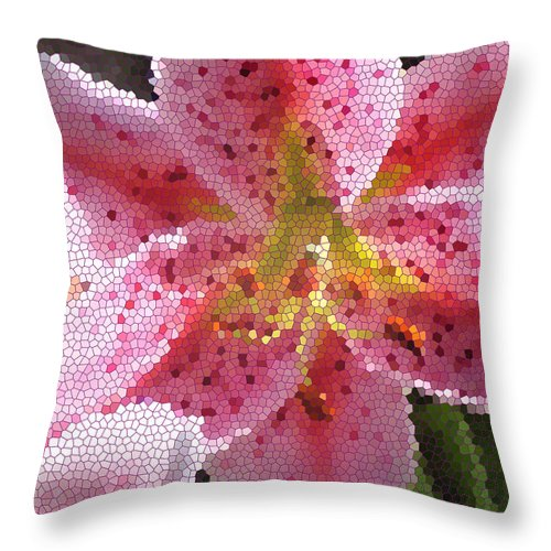 Digital Art Throw Pillow featuring the digital art Stargazer Stained Glass by Barbara Griffin