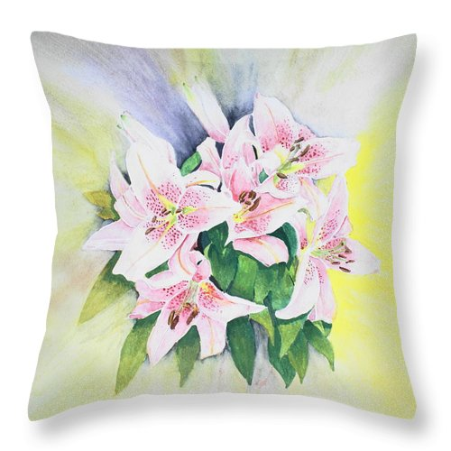 Lilies Throw Pillow featuring the painting Stargazers 1 by Frank Hamilton