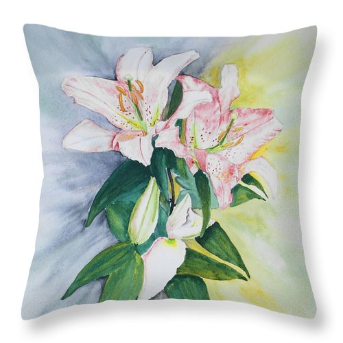 Lilies Throw Pillow featuring the painting Stargazers by Frank Hamilton