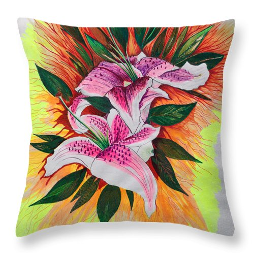 Flowers Throw Pillow featuring the drawing Stargazers by J R Seymour