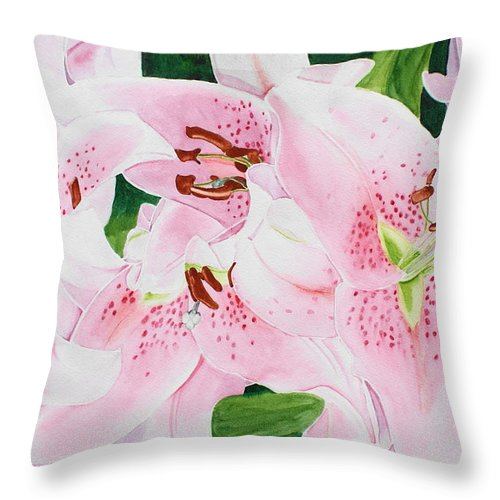 Lilies Throw Pillow featuring the painting Stargazers Number 3 by Frank Hamilton