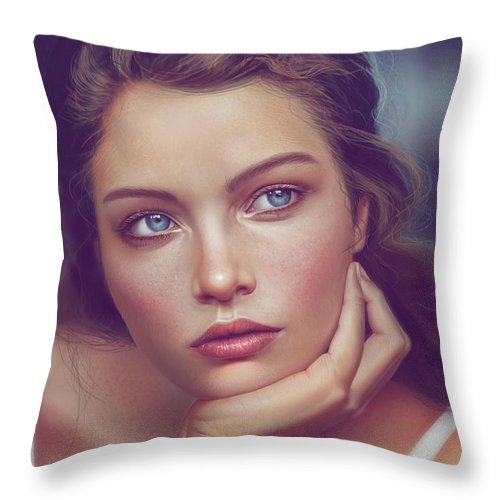 Girl Throw Pillow featuring the digital art Staring by Aldo Martinez Calzadilla