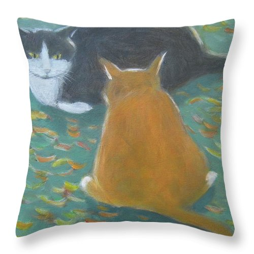 Cat Throw Pillow featuring the painting Staring Contest by Kazumi Whitemoon