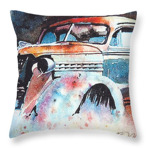 Chev Throw Pillow featuring the painting StarlightChevy by Ron Morrison