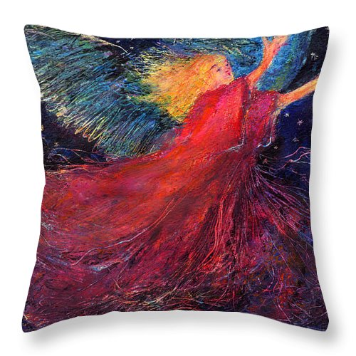 Angel Throw Pillow featuring the painting Starry Angel by Diana Ludwig