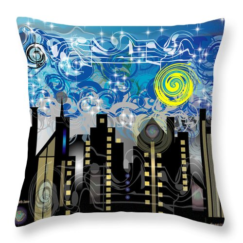 Jazz Throw Pillow featuring the digital art Starry Night by George Pasini