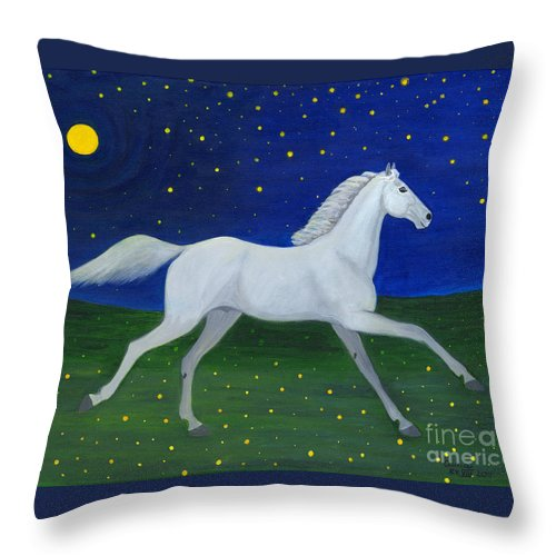 Horse Throw Pillow featuring the painting Starry Night In August by Anna Folkartanna Maciejewska-Dyba