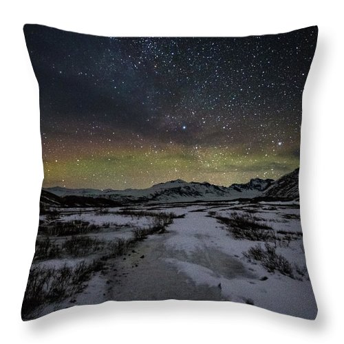 Iceland Throw Pillow featuring the photograph Starry Night In Iceland by Jean-Claude Ardila