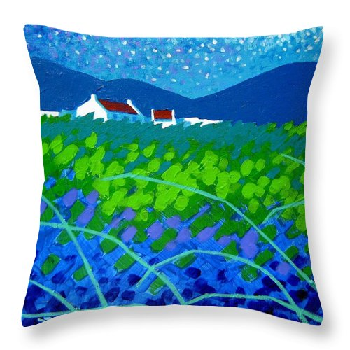 Acrylic Throw Pillow featuring the painting Starry Night In Wicklow by John Nolan
