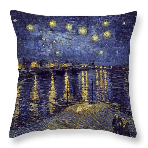 Vincent Van Gogh Throw Pillow featuring the painting Starry Night Over The Rhone by Van Gogh